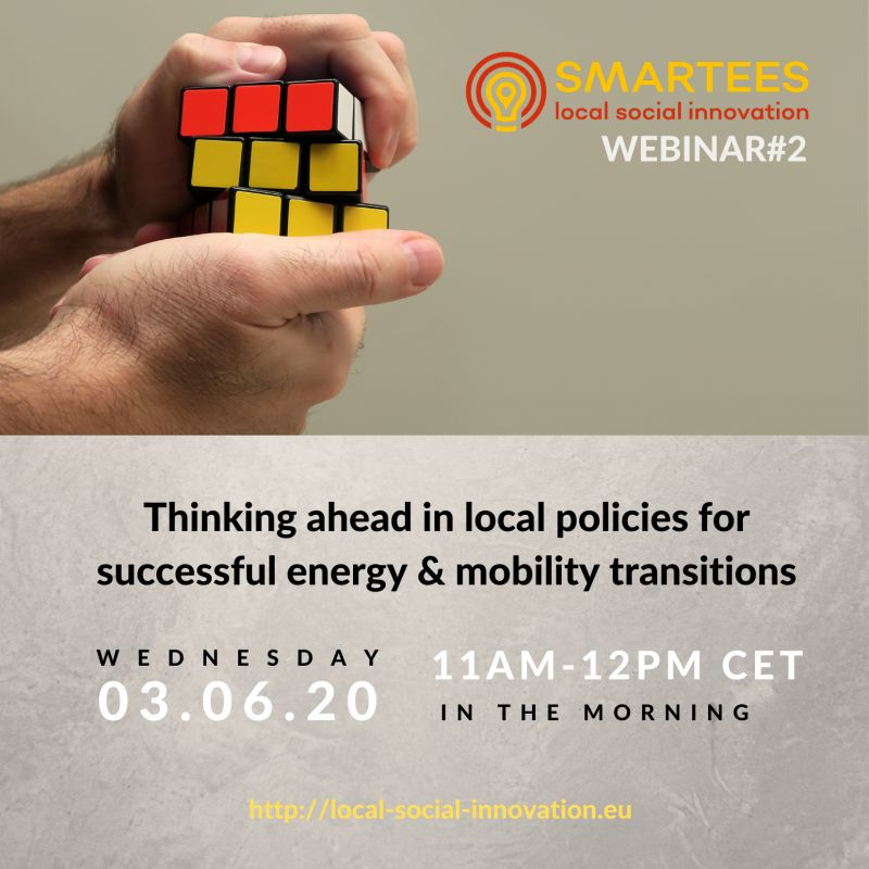 Webinar 'Thinking ahead in local policies for successful energy and mobility transitions' coming up June 3rd!